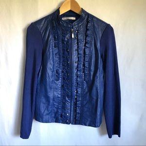 Peter Nygard Blue leather studded moto jacket M